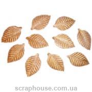 Листики золотистые текстильные для скрапбукинга