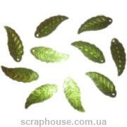 Пайетки Листики зеленые длинные