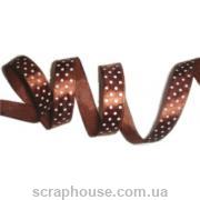 лента атлас в горошек коричневая