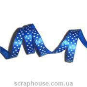 Лента атлас синяя в горошек