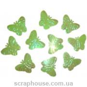 Пайетки Бабочки салатовые объемные
