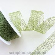 Лента Паутинка зеленая травяная, плотная нитевая плетенка, ширина 3,0 см