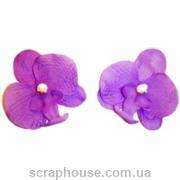 Головки цветов орхидеи сиреневые. Лепестки из ткани, эффект натурального цветка,