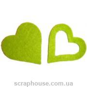 Сердечки салатовые фетровые