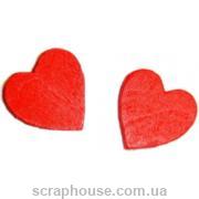 Деревянная аппликация Красные сердечки