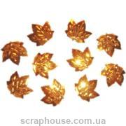 Пайетки Листики кленовые золотые