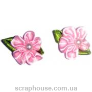 Цветы с бусинкой розовые