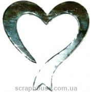 Aппликация Сердечко-лента серебряное