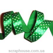 Лента атлас в горошек, зеленая