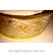 Лента кремовая парча Золотые снежинки, на проволоке, ширина 3,8 см,