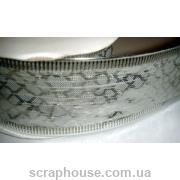 Лента белая парса Серебряные чешуйки, на проволоке 3,8 см.