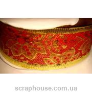 Лента красная парча Золотые цветы, на проволоке, ширина 3,8 см