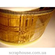 Лента из органзы кремовая Золотая сеточка, на проволоке, ширина 5,0 см