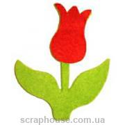 Аппликация из фетра Тюльпан красный, размер - 7*6 см