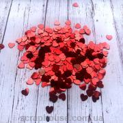 Конфетти Сердечки красные маленькие