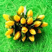 Тюльпаны желтые с зелеными листиками