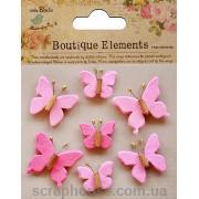 Маленькие бабочки розовые 7шт., двуслойные, пр-во Таиланд.