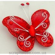Бабочка декоративная со стразами красная