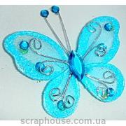 Бабочка декоративная голубая со стразами