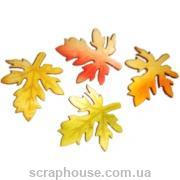 Деревянная аппликация листики осенние кленовые