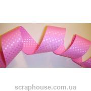 Лента в горошек розовая