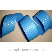 Лента в горошек голубая полипропиленовая