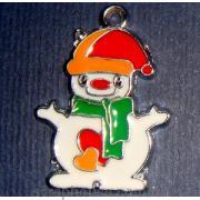 Снеговик с сердечками металлическое украшение с эмалью