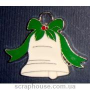Колокольчик рождественский металлическое украшение с эмалью