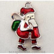 Дед Мороз с подарками металлическая подвеска с эмалью