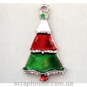 Елочка трехцветная новогодняя металлическое украшение с эмалью