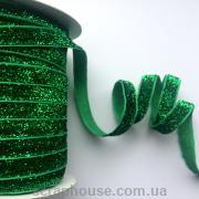 Лента велюровая с люрексом зеленая