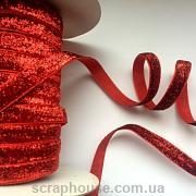 Лента велюровая с люрексом красная