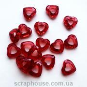 Декоративные сердечки-бусины красные, граненные, акриловые