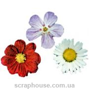 Деревянная аппликация Летние цветочки диаметр 3 см.