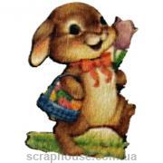 Деревянная аппликация Зайчик с тюльпаном