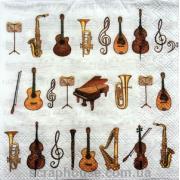 """Салфетка для декупажа """"Музыкальные инструменты"""""""