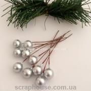 Новогодние ягоды серебряные на проволоке