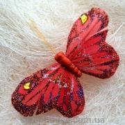 Декоративная Бабочка красная со стразами