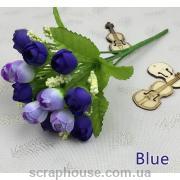 Искусственный букет декоративный розы Blue и гипсофилы