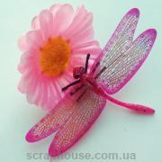Декоративная стрекоза розовая
