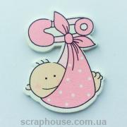 Деревянная аппликация малыш в розовом