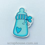 Деревянная аппликация  бутылочка голубая