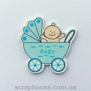 Деревянная аппликация  Малыш в голубой коляске