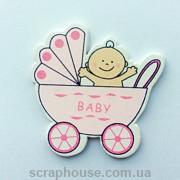 Деревянная аппликация  Малыш в розовой коляске