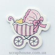 Деревянная аппликация  Детская коляска розовая