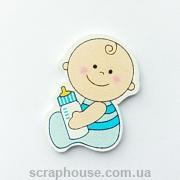 Деревянная аппликация Веселый малыш с бутылочкой