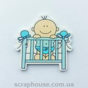 Деревянная аппликация  Малыш в голубой кроватке