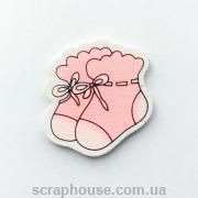 Деревянная аппликация  носочки розовые