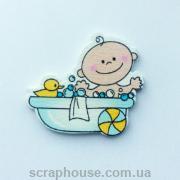 Деревянная аппликация  Малыш в ванне