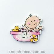 Деревянная аппликация  Малышка в ванне